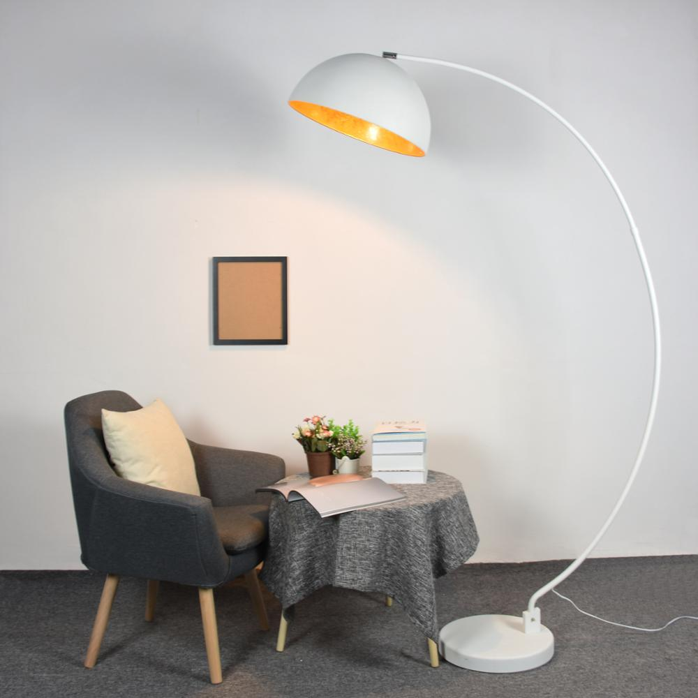 Hollywood Retro White Arc Floor Lamp With Dome Lampshade